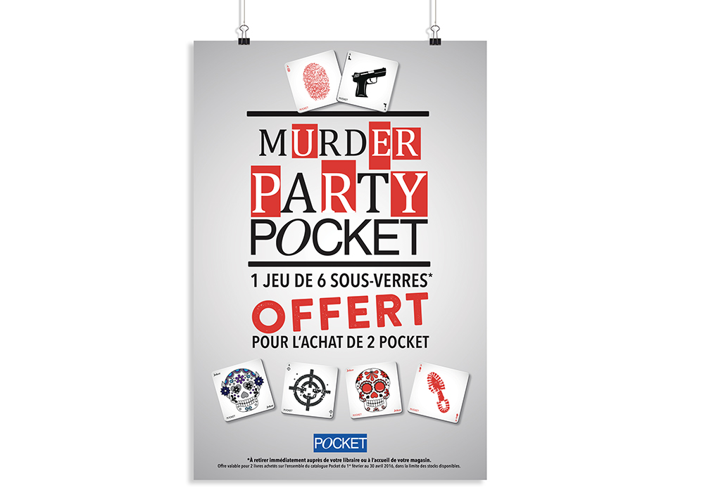 "Affiche 40 x 60 cm - "" Murder party Pocket "" - éditions Pocket - 2016"