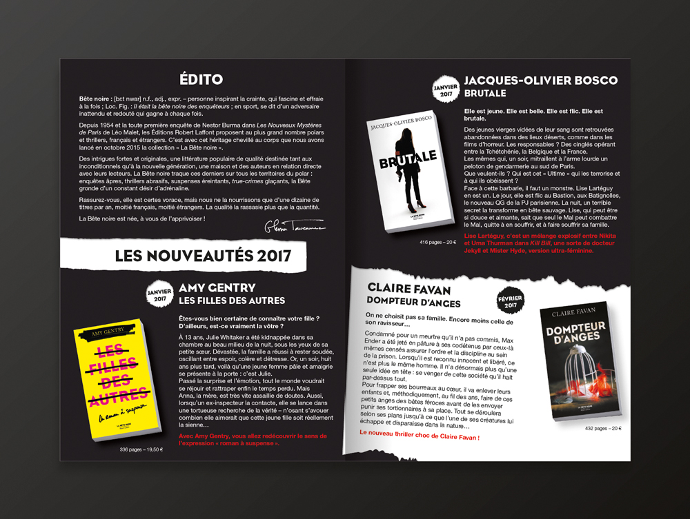 Catalogue collection La Bête Noire - pages 2 et 3 - éditions Robert Laffont - 2017